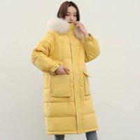 Janvening Femme Long Puffer Manteau 2020 Grande fourrure naturelle à capuche 90% de canard blanc Veste Down Femmes Vêtements Femmes Parka1