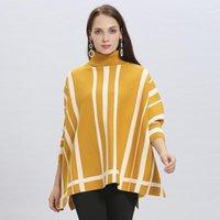2020 Frühling Herbst Frauen Pullover Strickbatwinghülse High-Hals-Pullover Poncho Capes Femme Boho Lose Slim Mantel Cloak1