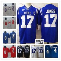 Mens NCAA # 17 Daniel Jones Duque Blue Devils Football Jerseys costurado # 8 Daniel Jones New York # 4 Myles Hudzick Duke Blue Devils Jersey S-3x