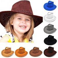 Unisex vaquera vaquero sombrero de vaquero para niños niños niño niña diseño clásico disfraz de fiesta casual sol sombreros moda venta caliente # 051