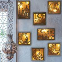 Hohlmond Muster LED-Licht Holz DIY Lampe Für Ramadan Eid Mubarak Islam Muslim Handwerk Home Decoration Festival Partei liefert