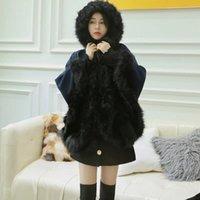 Hot Sale Femme laine d'hiver cape design de luxe femmes en faux capes de fourrure de raton laveur vestes vintage style britannique bleu foncé veste à capuche lâche
