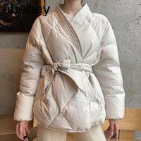 Damen Down Parkas 2021 Design Frauen Winter Solide Schärpen Mantel Weibliche dicke hochwertige Studenten Outwear Sweet Jacke Plus Größe