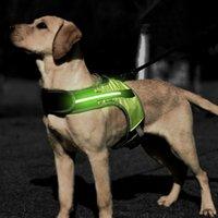 Aydınlık LED K9 Köpek Koşum Köpek Yaka Güvenlik Yansıtıcı Koşum Yelek Husky Shepherd Labrador Orta Büyük Köpekler Pet Malzemeleri 201104