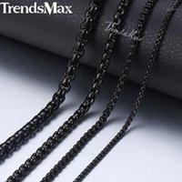 """Trendsmax 2-5 ملليمتر الصندوق الأسود سلسلة قلادة للرجال الفولاذ المقاوم للصدأ قلادة الرجال الأزياء والمجوهرات بالجملة 18-36 """"KNM1181"""