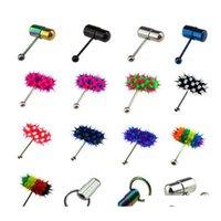Punchure Jewelry Vibration Sile Lengua Anillo Multi Colorwholesale