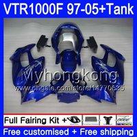 Cuerpo azul de plata + tanque para Honda Superhawk VTR1000F 97 98 02 03 04 05 56HM.106 VTR1000 F VTR 1000 F 1000F 1997 2002 2003 2004 2005