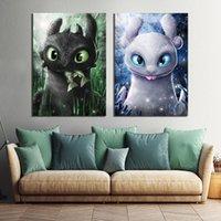 Photos de dessin animé d'art numérique 2 pièces Comment dresser votre dragon The Hidden World Film Poster Peintures Toile Art pour la décoration murale Y200102