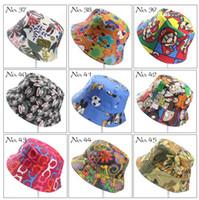 40 colori bambini cappello della benna Casual Sun del fiore stampate bacino di tela topee bambini dei cappelli del bambino Beanie Berretti