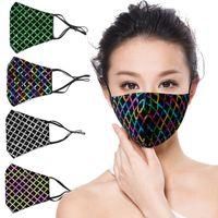 Способ внешней торговли леди личности блестки хлопка дизайнер маска лица мода пыль и солнцезащитные маски модные полосатые блестки маски