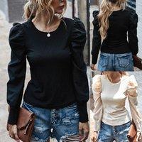 Kadın Bluzlar Gömlek # H40 Vintage Puf Kollu Kadın Bluz O Boyun Kore Tarzı Zarif Seksi Beyaz Siyah Ince Bayan ve Blusas Tops
