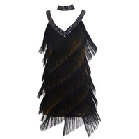 Black Wear Blingstory 2pcs / Set elegante paillettes due pezzi diamanti frangia nappa donne vestito da ballo latino