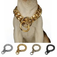 개 금속 칼라 P 체인 골드 스테인레스 스틸 애완 동물 개 체인 칼라 금속 목걸이 19mm 너비 강한 대형 개 Collars Pitdog 201105