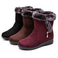 Mulheres neve botas quentes pêlo curto Plush Inverno Botim Plus Size Platform Ladies Suede Shoes Zip Feminino Comfort Drop Shipping