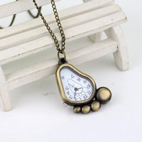 Sell Foot Footprint Shape Cartoon Desigh Silver Metal Quartz Pocket Watch Men Womens Necklace Pendant Chains