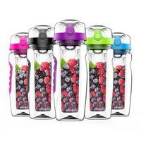 32oz 1000ml BPA BPA Free Fruit Infuser Juice Shaker Sport Sport Limone Bottiglia d'acqua Tour Escursionismo Portable Climbing Camp Detox Bottles 201105