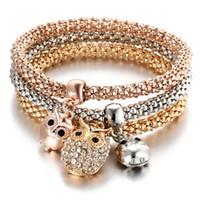 Браслеты очарования трехцветных наборов эластичной цепи попкорна с бриллиантным бабочкам подвески подвески браслет для женщин подарок