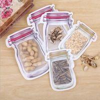 Bolsas Mason en forma de jarra bolsas de bocadillos envase de alimento amistoso reutilizable de Eco Bolsa PE Segura Cremalleras almacenamiento de plástico de almacenamiento Olor LXL726Y Clip Prueba