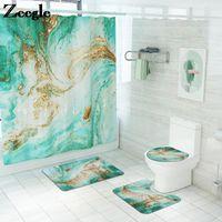Abstracto Cuarto de baño Cortina de ducha Set Decoración para el hogar Decoración en forma de inodoro en forma de U Microfibra Aseo Asiento Asiento Asiento Mat