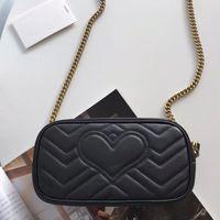 여성 Marmont에 미니 골드 체인 카메라 가방 정품 가죽 심장 모양의 동전 지갑 활발한 퀼트 지갑 어깨 크로스 바디 전화 가방 지갑