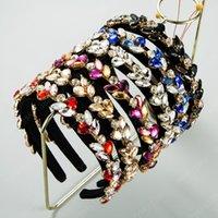 Fascia Foglia colore di temperamento di cristallo per Drill Donna Lucido Vetro Vintage Black Velvet Hairband femminile festa Accessori per capelli