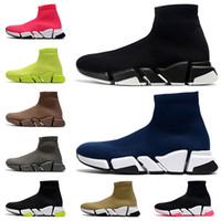 Высокое качество повседневные носки обувь черный синий бежевый тройной красный белый вольт растягивающиеся вязаные мужчины женщины кроссовки роскоши дизайнерские туфли размер 36-45