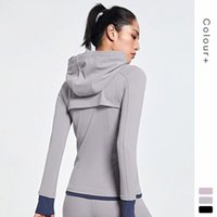 Lulu the same autumn and winter high-end Yoga suit Full Zip Hooded Coat finger outdoor exercise fitness women