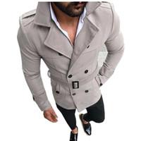خندق معاطف الشتاء الرجال عادية سليم معطف أزياء مزدوجة الصدر الزنانير قابل للتعديل الصلبة الجديدة 2020 ذكر جيوب خندق معاطف