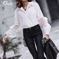 Frauen Blusen Hemden Elegant Celmia 2021 Autumn Transparent Puff Sleeve Revers Tops Casual Lose Sexy Büroarbeit Party Blusas