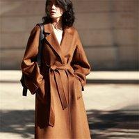 AIGYPTOS Классический двусмысленный шерстяной женщины волнистые кашемировые зимние пальто женщины 201215