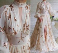 2021 Tanie w magazynie Szyfonowe Długie sukienki Prom Szyfonowe Unikalne Cekiny Gwiazda High Collar Split Front Formalne Suknie Wieczorowe Duża Spódnica Dresy Dress