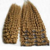 Light dorato marrone colore brasiliano kinky capelli ricci weaivng 100% capelli umani tessere 6a clip vergine non trasformata in estensioni dei capelli