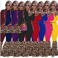 النساء مصمم تراكسويت ليوبارد المرقعة طويلة الأكمام المحاصيل قمم البلوز طماق مضيئة بانت قطعتين الملابس مجموعات الأزياء وتتسابق G10609