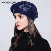 Berets Mosnow Mulheres Boina Elegante Flor Rhinestones 2021 Outono Inverno Lã de Alta Qualidade Malha Chapéus Femininos # MZ740