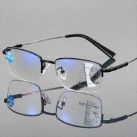 선글라스 프로그레시브 멀티 포커스 컴퓨터 읽기 안경 푸른 빛 차단 티타늄 합금 봄 힌지 멀티 초점 독자 안경