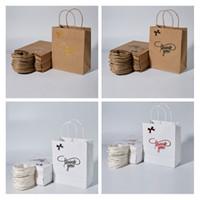 2021 Sacola de compras Logo Presente Simples Presente Kraft Paper Bag Obrigado Bolsas De Papel Kraft 4 estilos 3 tipos de especificações