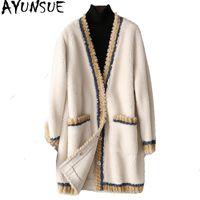 Ayunsue Real Carneiros Shearling pele casaco de lã feminina casacos de inverno jaqueta de inverno mulheres cordeiro coreano jaquetas longas chaqueta mujer my4025