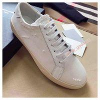 Yves Saint Laurent YSL de lona de algodón de lujo superior Little White Causal Shoes SLP Lace Up Principio Causal Causal Unisex Zapatos deportivos al aire libre Tamaño 36-44
