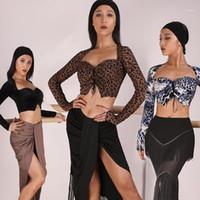 Новый Латинский Танц Топ Женщины Длинные Рукава Сексуальные Дамы Практика Костюмы Rumba Salsa Tango Cha Cha Танцующие Одежда Танца Платье SL21341