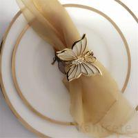 Kelebek peçete halkaları peçete sahipleri düğün akşam yemekleri için parti otel düğün masa dekorasyon malzemeleri peçete toka 100 adet T1I3443