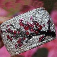 Кластерные кольца старинные сливы дерево цветок цветок асфальтированные красные розовые стразы CZ CZ 2021 Bohemia милый банкетный дизайн украшения Z4M1711
