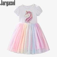 Jargazol arco-íris unicórnio vestido crianças roupas bebê menina vestidos elegante verão bonito manga curta princesa vestido malha vestidos lj200923