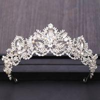 Modificados accesorios para el cabello nupcial Color de plata Tocado de la corona Barroco Rhinestone Cristal Boda Tiara Joyas de pelo Accesorios