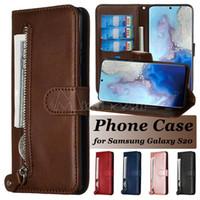 Cartera Teléfono Funda para Samsung Galaxy Note20 S20 Ultra Note10 S10 S9 Plus PU Cuero con cremallera de cuero iPhone 12 Mini 11 Pro Max Flip Stand Funda