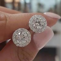 2021 Lüks Kadınlar Için 925 Ayar Gümüş Elmas Küpe 6mm Küçük Damızlık Noel Hediyesi Gelin Takı Düğün Aksesuarları Küpe AL7367