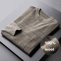 Sweaters d'hommes Minglu automne Hiver hommes luxe 100% laine Collier rond épaississement Masculin Mode Slim Fit Gardez Warm Man1