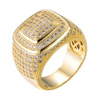 Hip-Hop Euro ausbling Full CZ-Charme Treany Square Kupfer Zirkon Ring für Männer Frauen Schmuck Gold Größe 8-11