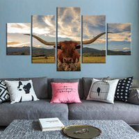 5 Panel Texas Longhorn Cattle Picture Decoration Home Wall Art Posters And Prints Picture Giclee Artwork Canvas Paintings
