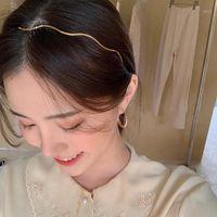 Aomu 2020 جديد كوريا الحلو شيك موجة الشعر الفرقة بسيطة لامعة معدنية hairbands للنساء فتاة رائعة دبوس الشعر headdress1