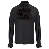 2021 Solid Long Sleeve British Style Cotton Men's Shirt SD Men's Gothic Steampunk Long Sleeve Stand Collar Jabot Decorated Tops